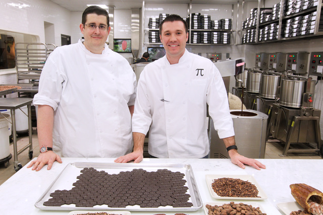 Chocolate maker Matthew Silverman, left, and executive chef Matt Piekarski are seen in the kitchen at Hexx at Paris Las Vegas Friday, April 3, 2014. (Sam Morris/Las Vegas Review-Journal)