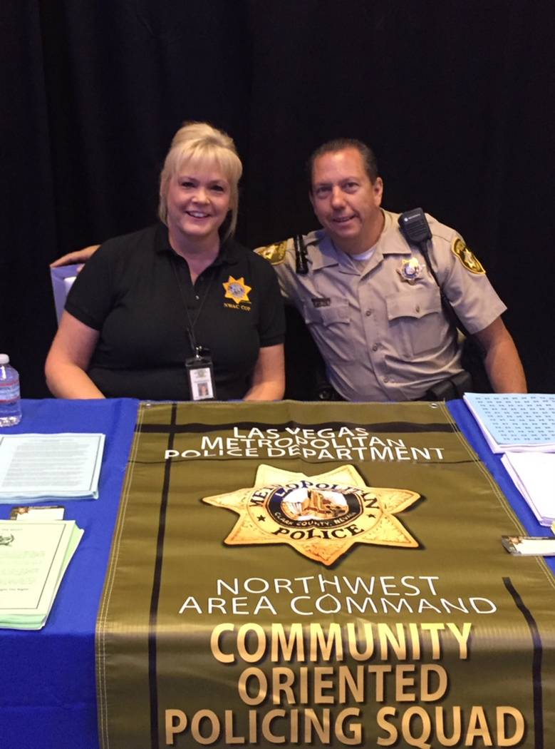 Crime Prevention Specialist Kathy Cassell and Officer Dave Wheatley at a community event in 2017. She retired Oct. 19 after 35 years with the Las Vegas Metropolitan Police Department. Photo provid ...