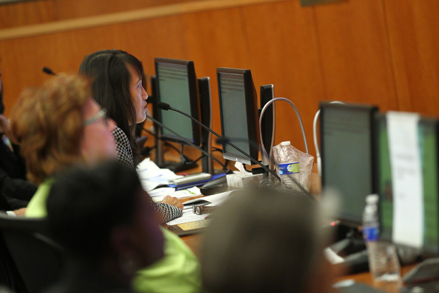 North Las Vegas City Manager Qiong Liu speaks during an agenda item about the possibility of the city outsourcing it's human resources department to a third party during a city council meeting at  ...