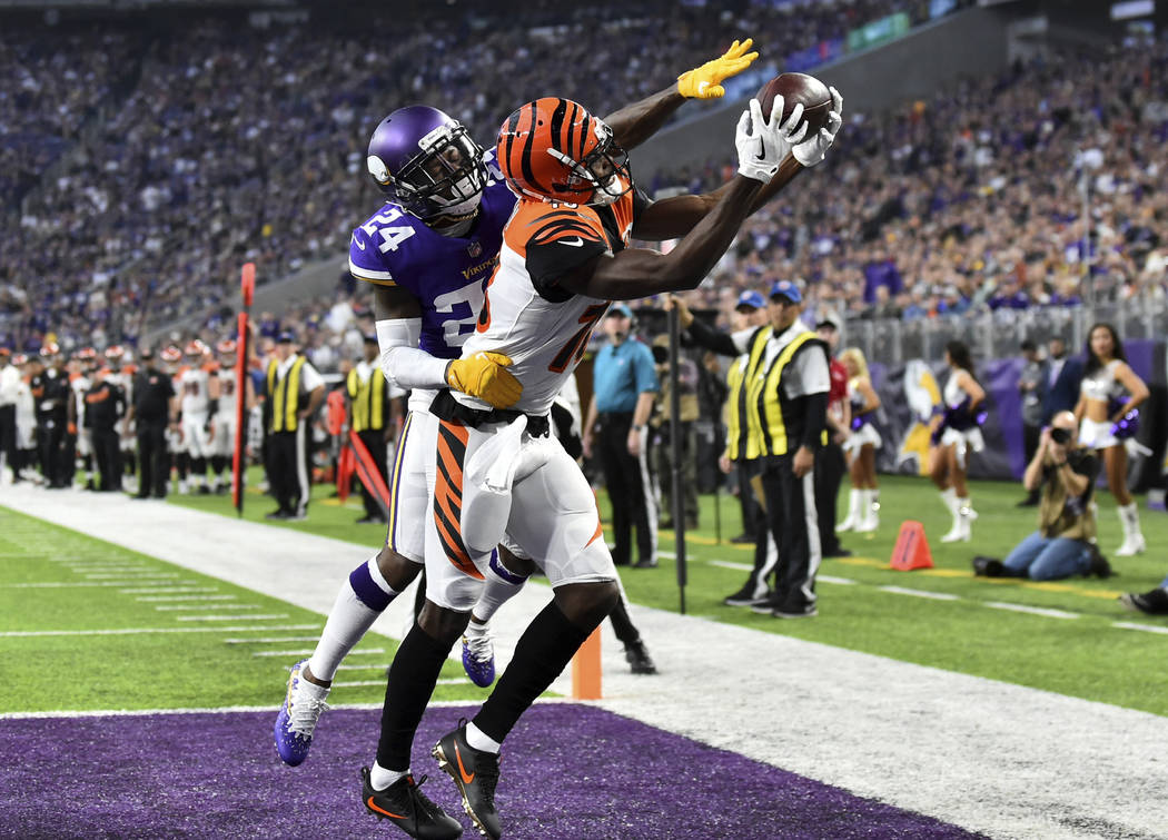 Minnesota Vikings defensive back Tramaine Brock (24) breaks up a pass intended for Cincinnati Bengals wide receiver A.J. Green during the second half of an NFL football game, Sunday, Dec. 17, 2017 ...
