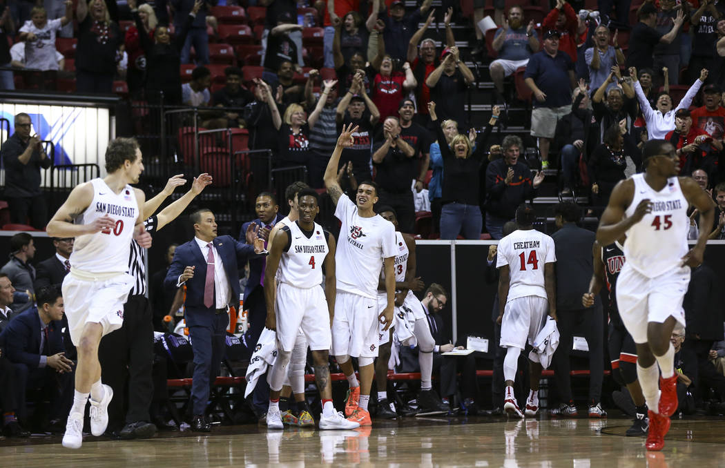 San Diego State players react while playing UNLV during a Mountain West Conference tournament basketball game at the Thomas & Mack Center in Las Vegas on Wednesday, March 8, 2017. San Diego St ...