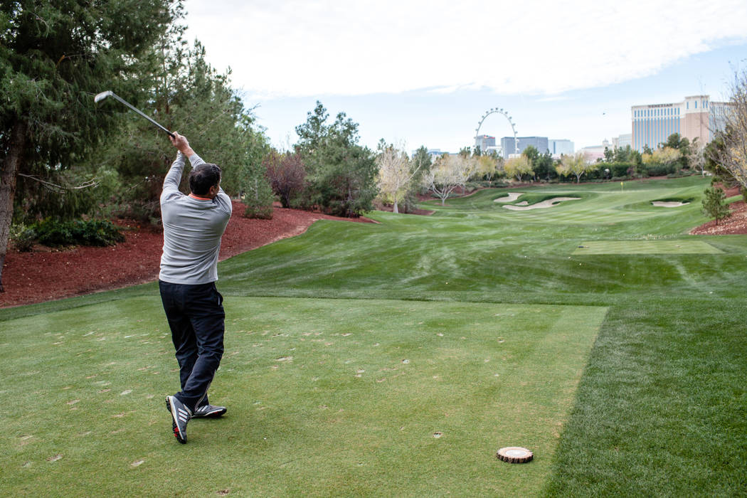 Wynn Las Vegas employee George Fonte, 50, golfs at the Wynn Country Club in Las Vegas, Friday, Dec. 22, 2017. The golf course is shutting down on Dec. 23 and will be replaced with Paradise Park, a ...