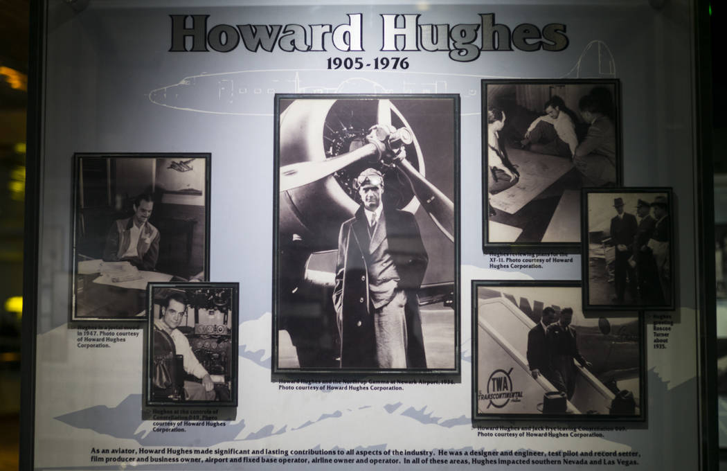 A display about Howard Hughes at the Howard W. Cannon Aviation Museum in McCarran International Airport in Las Vegas on Tuesday, Dec. 26, 2017. Chase Stevens Las Vegas Review-Journal @csstevensphoto