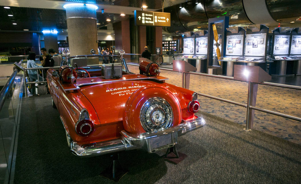 A red 1956 Thunderbird, owned and operated by Alamo Airways, acted as the lead car/crash wagon at the airport from 1957 to 1968 at the Howard W. Cannon Aviation Museum in McCarran International Ai ...