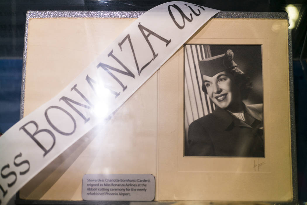 A display showing Stewardess Charlotte Bornhurst, who was Miss Bonanza Air, at the Howard W. Cannon Aviation Museum in McCarran International Airport in Las Vegas on Tuesday, Dec. 26, 2017. Chase  ...