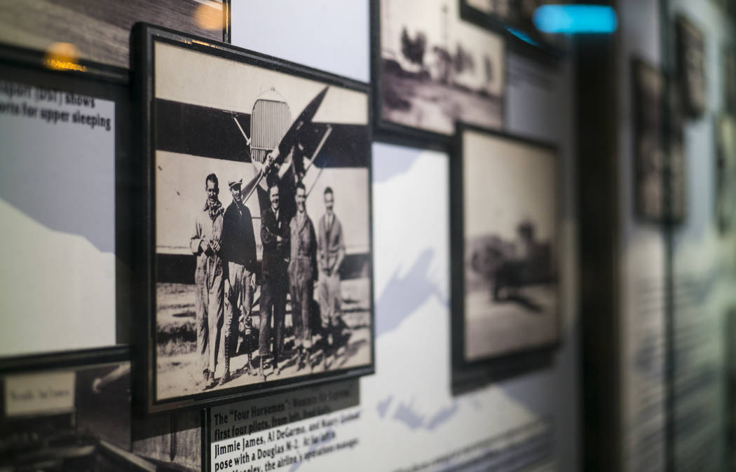 A historic photograph shows Western Air Express pilots at the Howard W. Cannon Aviation Museum in McCarran International Airport in Las Vegas on Tuesday, Dec. 26, 2017. Chase Stevens Las Vegas Rev ...