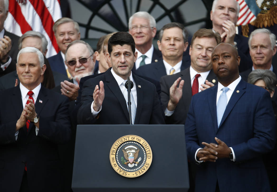 House Speaker Paul Ryan of Wis., speaks during a bill passage event on the South Lawn of the White House in Washington, Wednesday, Dec. 20, 2017, to acknowledge the final passage of tax cut legisl ...