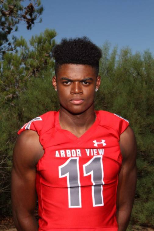 Arbor View's Isaiah Herron is a member of the Las Vegas Review-Journal's all-state football team.