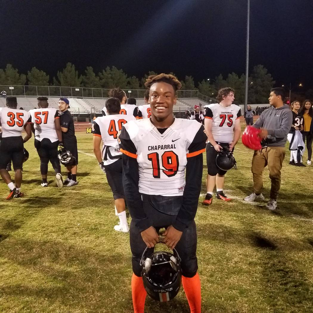 Chaparral's TyRay Collins is a member of the Las Vegas Review-Journal's all-state football team.