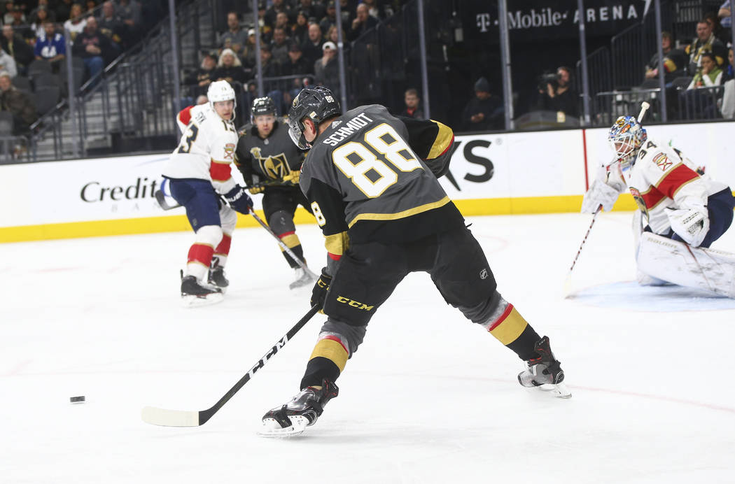 Golden Knights' Nate Schmidt (88) prepares to score against the Florida Panthers during an NHL hockey game at T-Mobile Arena in Las Vegas on Sunday, Dec. 17, 2017. Chase Stevens Las Vegas Review-J ...