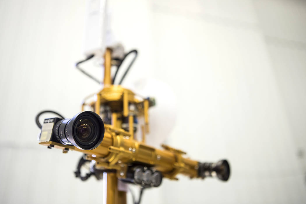 The binocular stereo vision and LED lights are shown on the Resource Prospector 2015 (RP15) Rover Prototype at the Johnson Space Center in Houston on Thursday, Nov. 30, 2017. The rover is designed ...