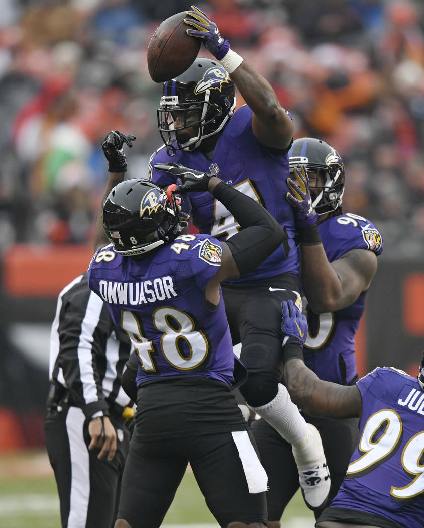Baltimore Ravens cornerback Anthony Levine, top, celebrates with teammates after recovering a fumble during the first half of an NFL football game against the Cleveland Browns, Sunday, Dec. 17, 20 ...