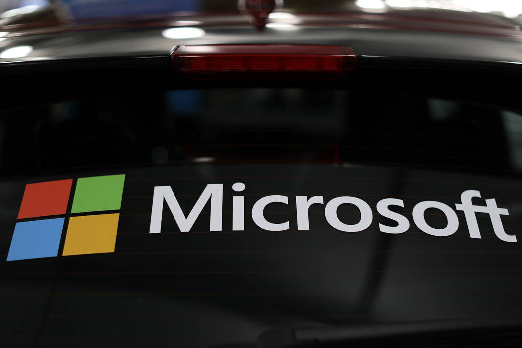 The Microsoft logo is shown on an electric car at the Auto Show in Los Angeles, California, U.S., November 28, 2017. (Mike Blake/Reuters)