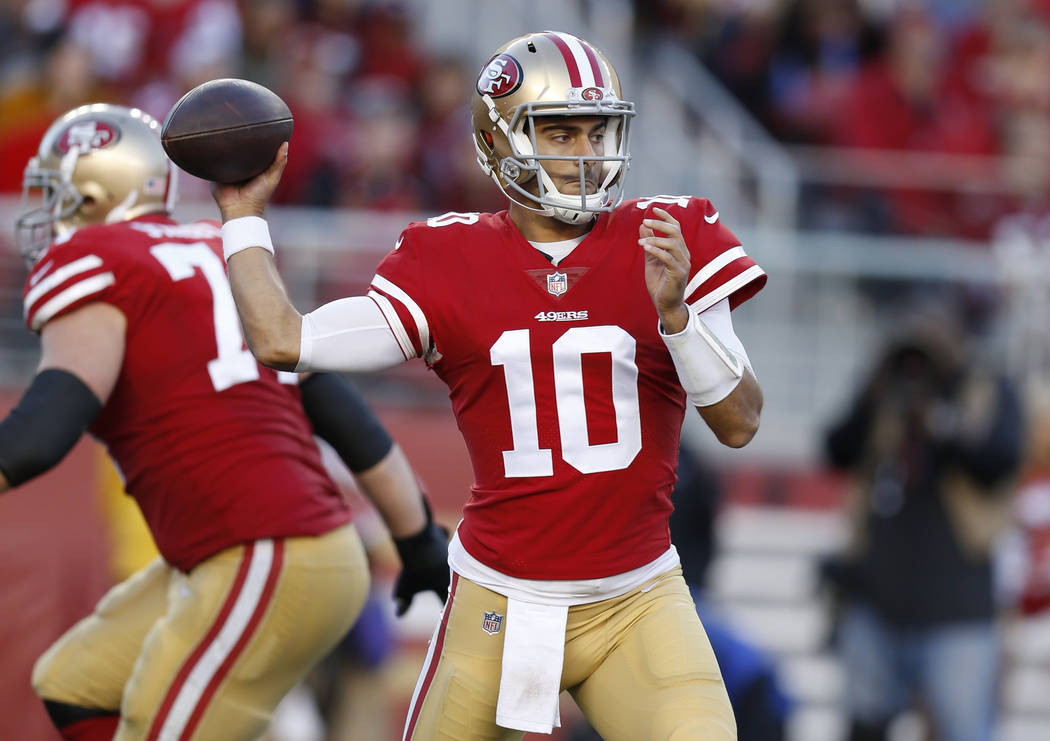 San Francisco 49ers quarterback Jimmy Garoppolo (10) throws against the Tennessee Titans during the second half of an NFL football game Sunday, Dec. 17, 2017, in Santa Clara, Calif. (AP Photo/D. R ...
