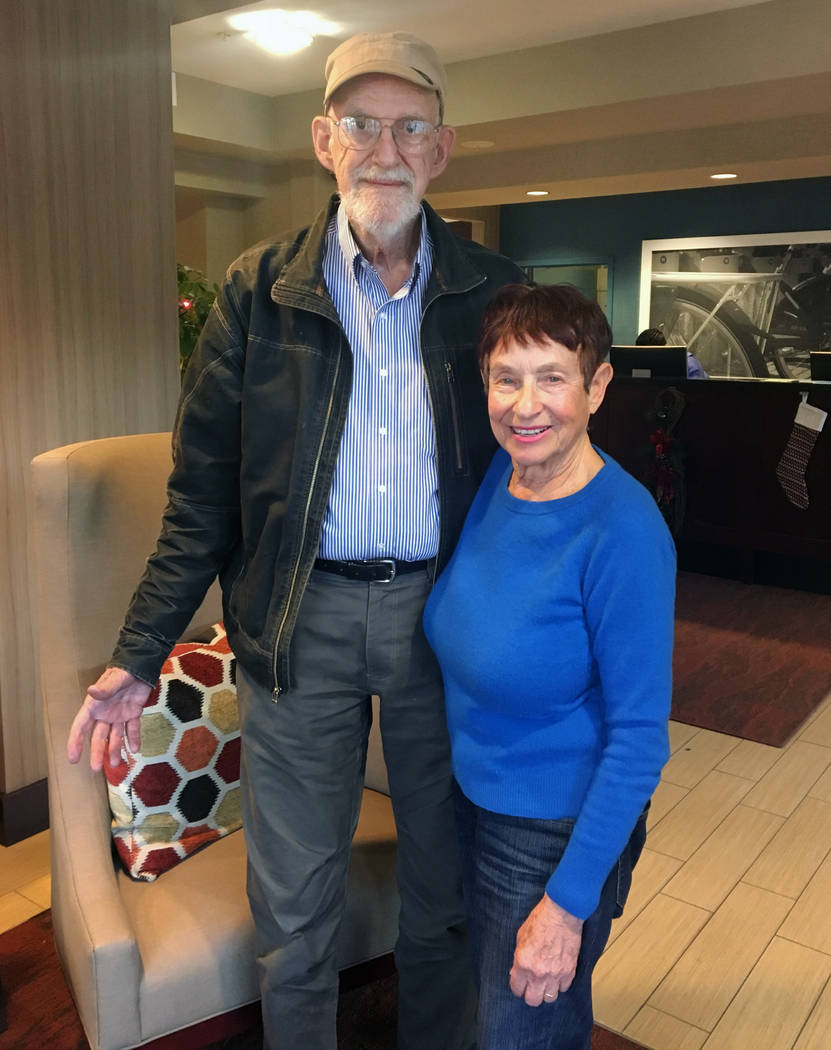 Ray and Curry Sawyer pose at a hotel where they're staying in Goleta, Calif. on Monday, Dec. 18, 2017. The Sawyers have been away from their home for 11 days because of a massive wildfire and may  ...