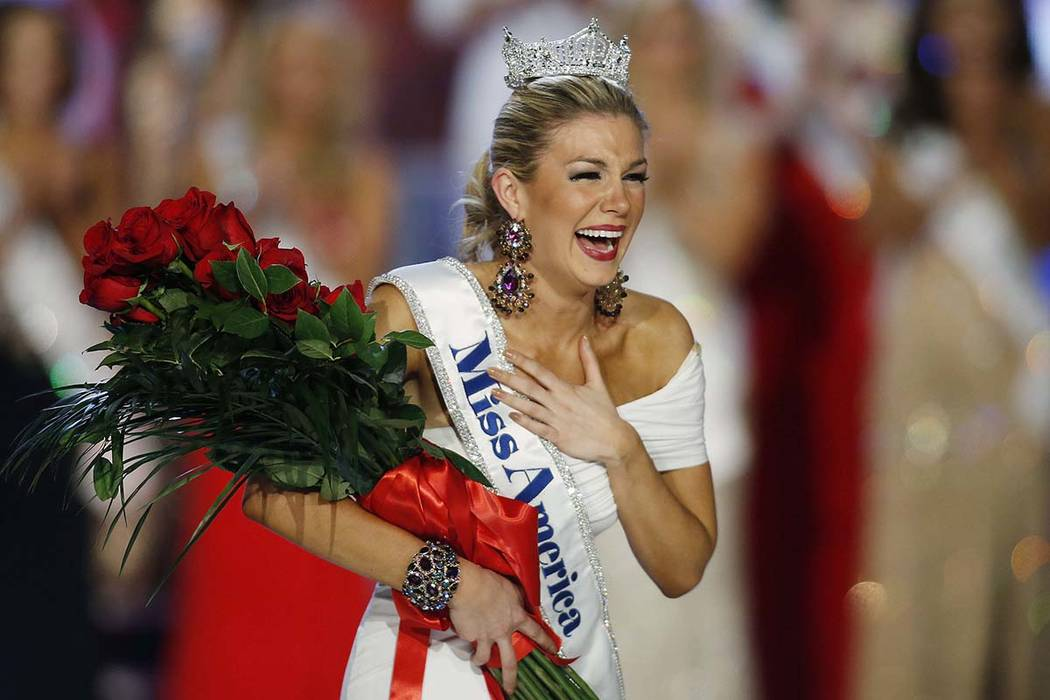 Miss New York Mallory Hytes Hagan reacts as she is crowned Miss America 2013 in Las Vegas on Jan. 12, 2013. Some former Miss Americas shamed in emails from the pageant's CEO are calling on him a ...
