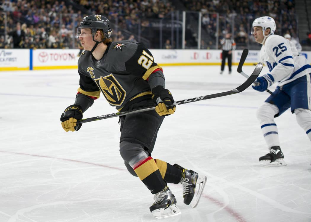 Vegas Golden Knights center Cody Eakin (21) skates on the ice during their game at T-Mobile Arena in Las Vegas on Sunday, December 31, 2017. Daniel Clark/Las Vegas Review-Journal