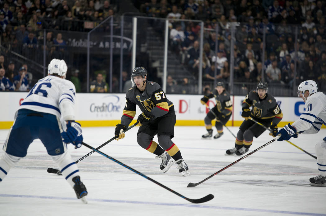 Vegas Golden Knights left wing David Perron (57) moves the puck up the ice during their home game against the Toronto Maple Leafs at T-Mobile Arena in Las Vegas on Sunday, December 31, 2017. Danie ...