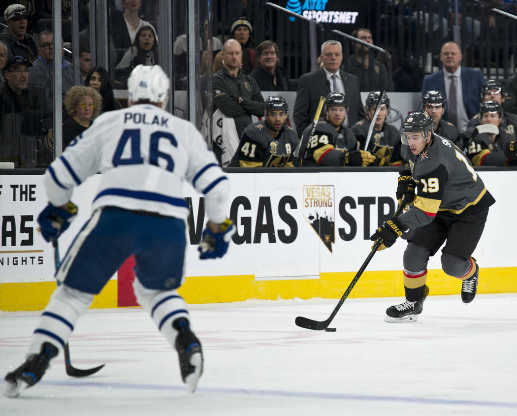 Vegas Golden Knights right ring Reilly Smith (19) moves the puck during their home game against the Toronto Maple Leafs at T-Mobile Arena in Las Vegas on Sunday, December 31, 2017. Daniel Clark/La ...