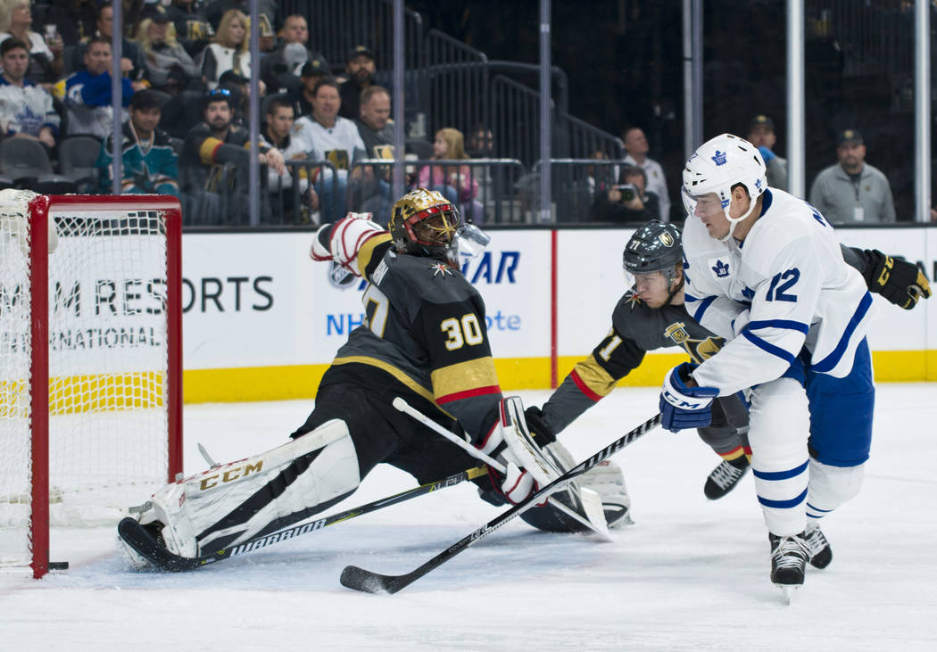 Toronto Maple Leafs left wing Patrick Marleau (12) scores a goal against Vegas Golden Knights goalie Malcolm Subban (30) during their game at T-Mobile Arena in Las Vegas on Sunday, December 31, 20 ...