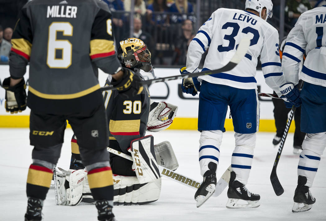Vegas Golden Knights goalie Malcolm Subban (30) holds a puck after making a save during their home game against the Toronto Maple Leafs at T-Mobile Arena in Las Vegas on Sunday, December 31, 2017. ...