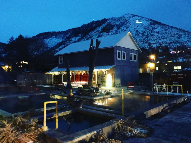 Nightfall in Lava Hot Springs, Idaho. (John Katsilometes/Las Vegas Review-Journal)