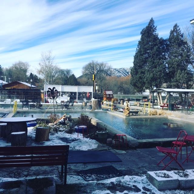 The main pool at the Lava Hot Springs Inn. (John Katsilometes/Las Vegas Review-Journal)