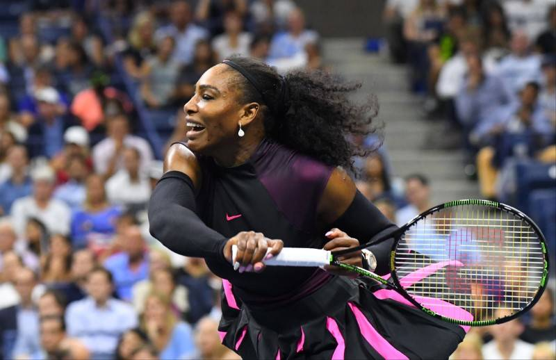 Sept 1, 2016; New York, NY, USA; Serena Williams of the USA hits to Vania King of USA (not pictured) on day four of the 2016 U.S. Open tennis tournament at USTA Billie Jean King National Tennis Ce ...