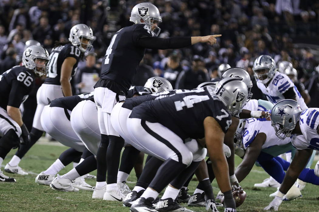 Oakland Raiders quarterback Derek Carr (4) calls a play at the line of scrimmage during the first half of a NFL game against the Dallas Cowboys in Oakland, Calif., Sunday, Dec. 17, 2017. Heidi Fan ...