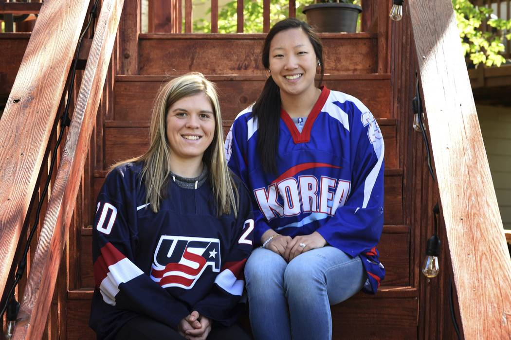In this May 11, 2017 photo, sisters Hannah, left, and Marissa Brandt, pose at their family's home in Vadnais Heights. Minn. The pair will be playing in the upcoming Winter Olympics in women's hock ...