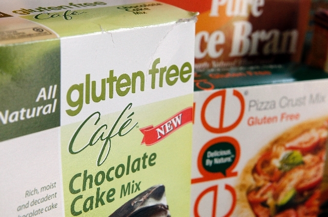A variety of foods labeled Gluten Free are displayed.