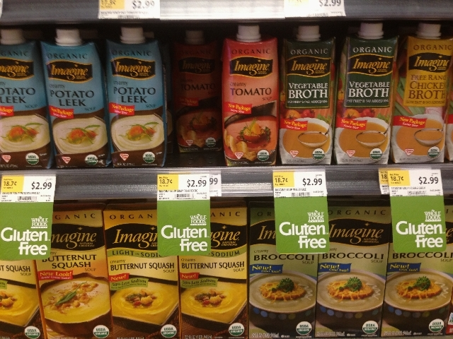 Gluten free products are seen on grocery store shelf.