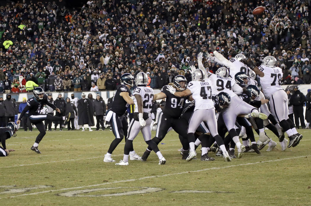 Philadelphia Eagles' Jake Elliott kicks a field goal during the second half of an NFL football game against the Oakland Raiders, Monday, Dec. 25, 2017, in Philadelphia. (AP Photo/Michael Perez)
