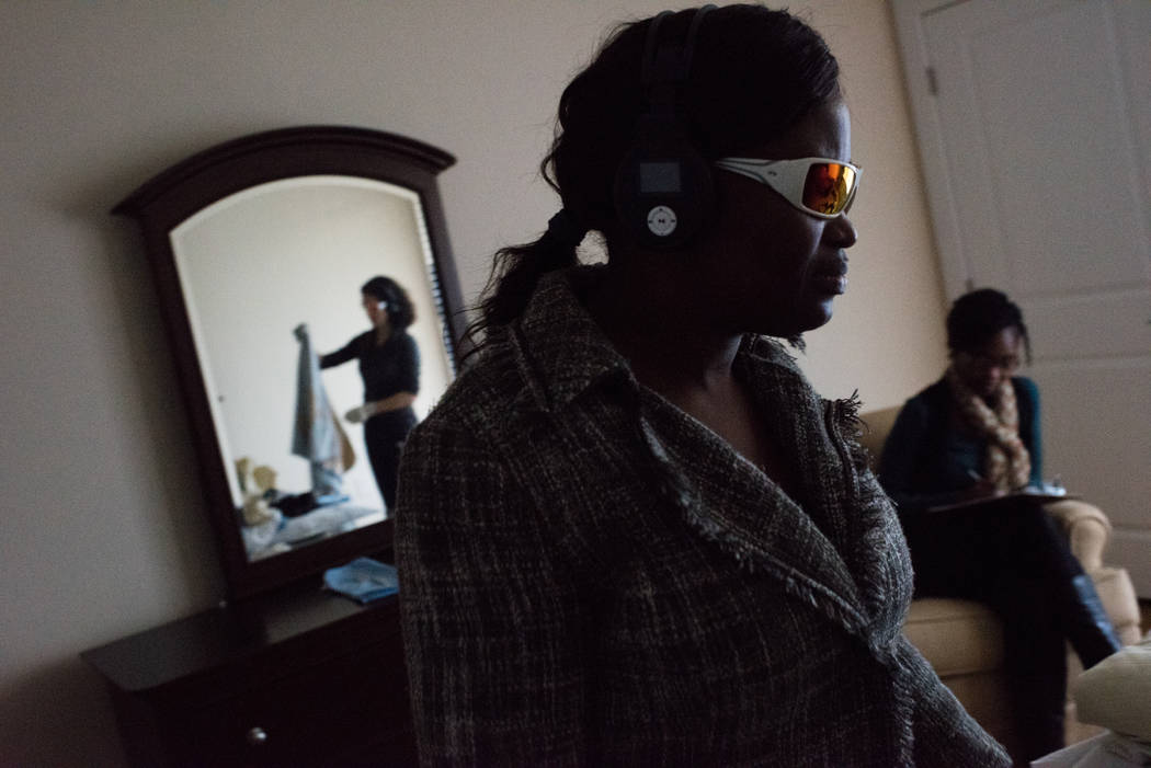 Matilda Kamara, a resident assistant at Brightview West End in Rockville, Maryland, participates in a tour that simulates the experiences of someone living with dementia. (Sarah L. Voisin/The Wash ...