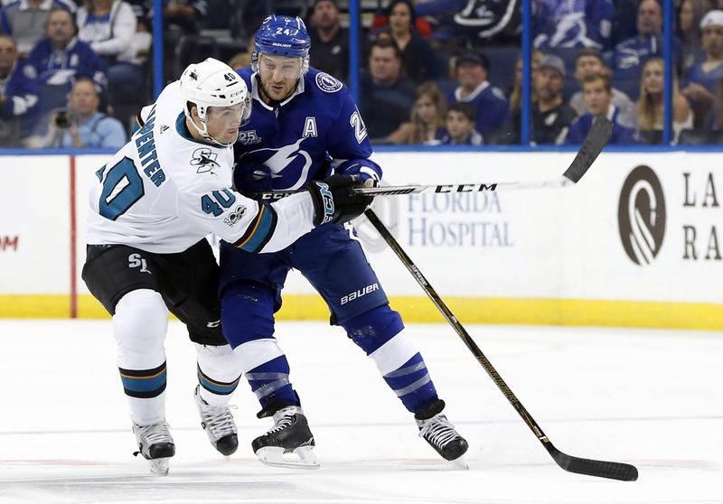Dec 2, 2017; Tampa, FL, USA; Tampa Bay Lightning right wing Ryan Callahan (24) defends San Jose Sharks center Ryan Carpenter (40) during the first period at Amalie Arena. Mandatory Credit: Kim Kle ...