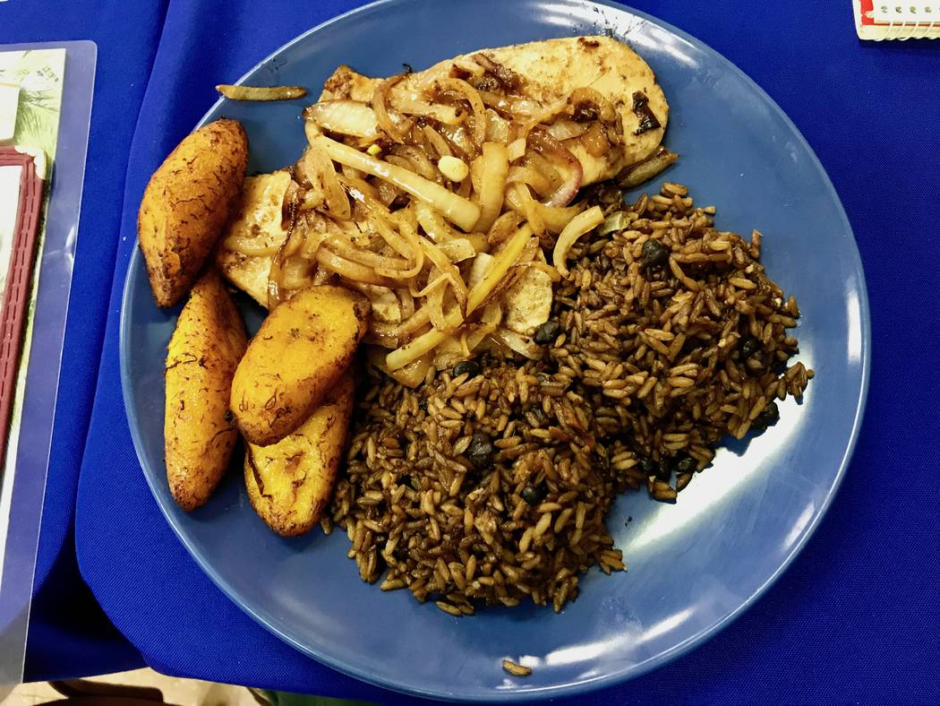 Grilled chicken with fried sweet plantains and black beans and rice ($8.00) (Madelyn Reese/View) @MadelynGReese