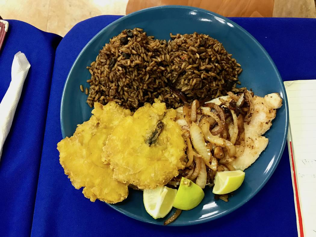 Grilled fish with fried plantains and black beans and rice ($8.50) (Madelyn Reese/View) @MadelynGReese
