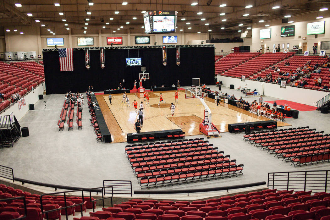A view of the South Point Arena during the second half of a basketball game between the Augsburg Auggies and the Carroll Pioneers in the D3Hoops.com Classic in Las Vegas, Thursday, Dec. 28, 2017.  ...
