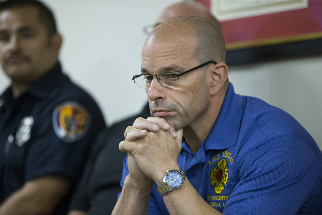 Eric Littmann, president of the Las Vegas Firefighters Local 1285, during a press conference at the Las Vegas Fire Fighters Union Hall in Las Vegas, Tuesday, Oct. 3, 2017. Erik Verduzco/Las Vegas  ...