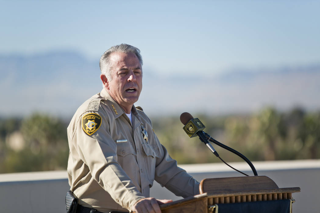 Clark County Sheriff Joe Lombardo talks about New Year's Eve security during a news conference at Metropolitan Police Department Headquarters in Las Vegas Wednesday, Dec. 27, 2017. Daniel Clark/La ...