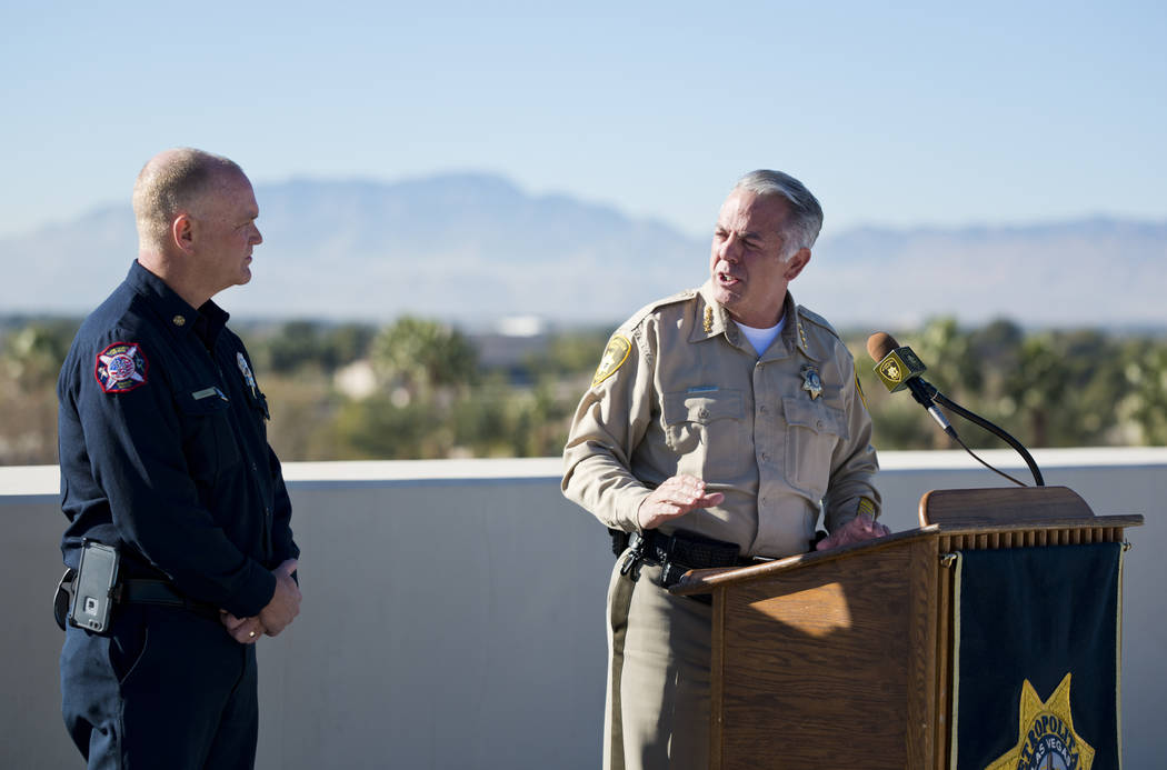 Clark County Sheriff Joe Lombardo, right, and Clark County Fire Chief Greg Cassell talk about New Year's Eve security during a news conference at Metropolitan Police Department Headquarters in Las ...
