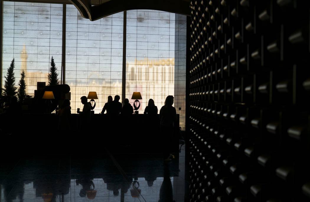 """The check-in desk at Mandarin Oriental's """"sky lobby"""" on the 23rd floor of the hotel in  Las Vegas on Wednesday, Dec. 27, 2017. Chase Stevens Las Vegas Review-Journal @csstevensphoto"""