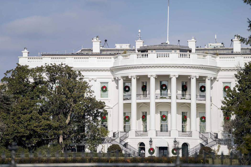 A famed Magnolia tree, at left, planted on the south grounds of the White House in Washington by President Andrew Jackson in 1835 was trimmed back Wednesday, Dec. 27, 2017.  (AP Photo/Andrew Harnik)