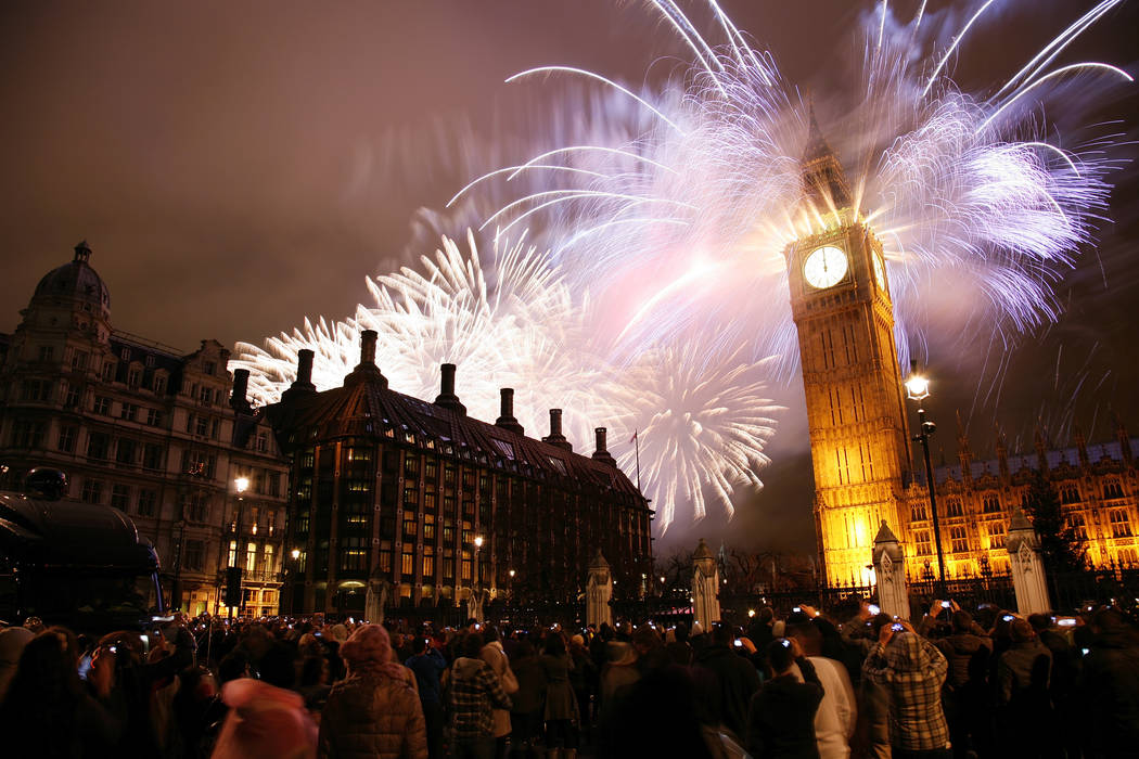 Fireworks over Big Ben at midnight. Thinkstock
