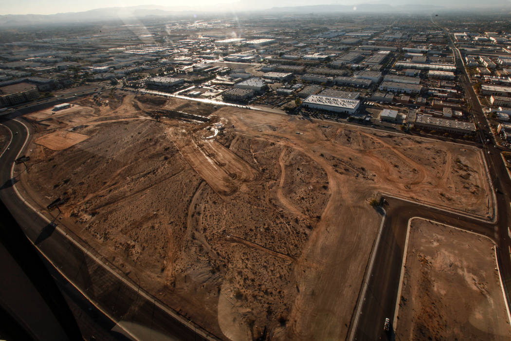 A view of the construction site of the Raiders stadium as seen from inside a helicopter piloted by Joe Munoz, 41, of Maverick Helicopters, in Las Vegas, Friday, Dec. 1, 2017. Joel Angel Juarez Las ...