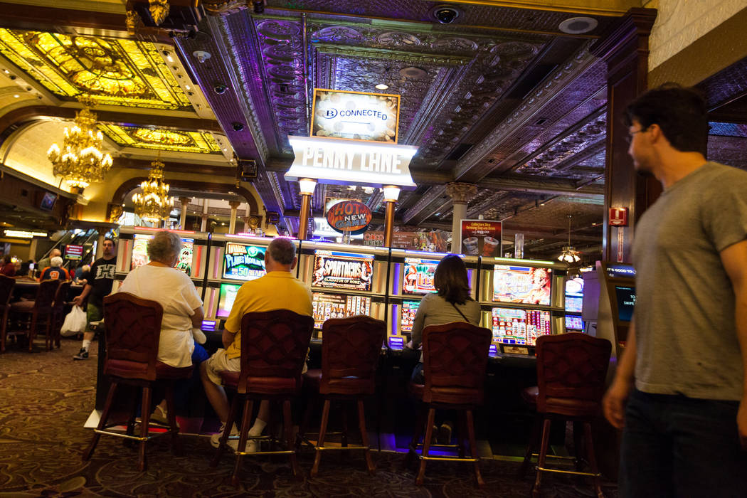 People play slot machines at the Main Street Station hotel-casino in downtown Las Vegas on Tuesday, May 26, 2015. Chase Stevens Las Vegas Review-Journal Chase Stevens @csstevensphoto