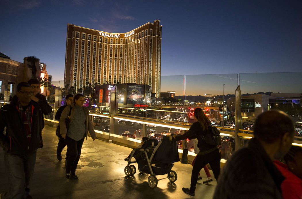 People walk over a pedestrian bridge connecting the Wynn Las Vegas to the Palazzo on the Strip on Tuesday, Dec. 26, 2017. Richard Brian Las Vegas Review-Journal @vegasphotograph
