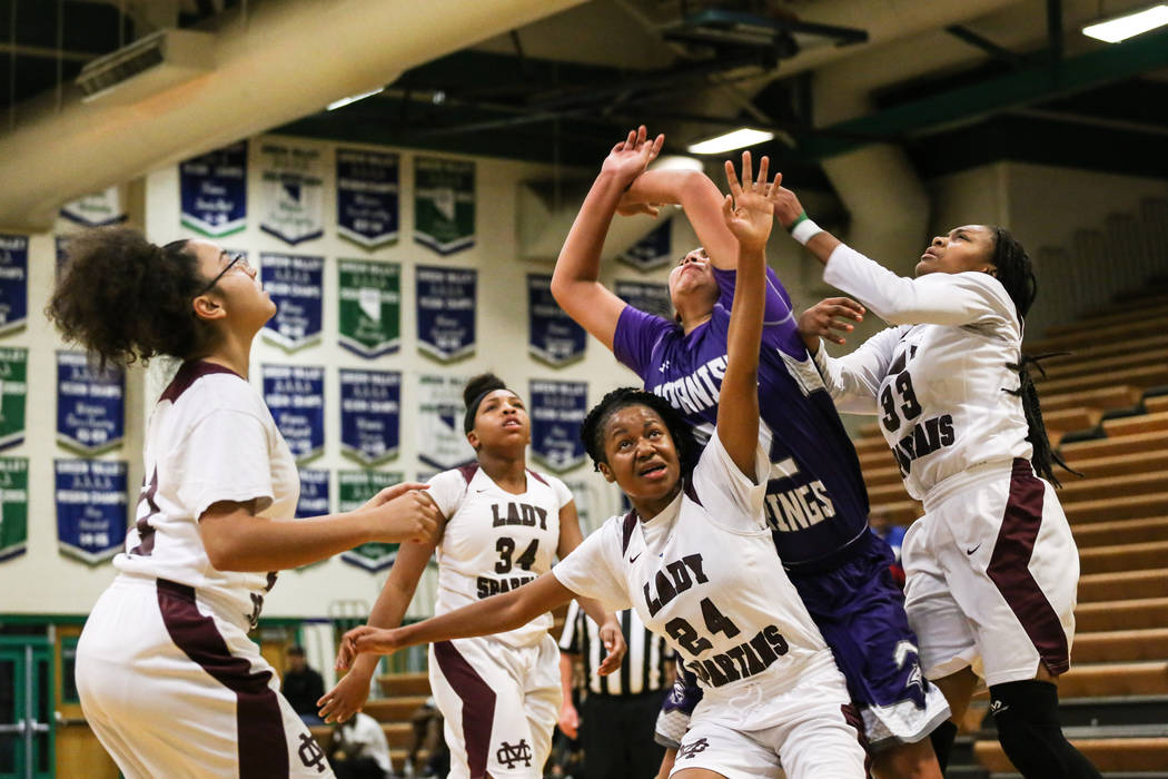 From left to right: Cimarron-Memorial's Aaliyah Hanley (21), Cimarron-Memorial's Tasia Moore (34), Cimarron-Memorial's Yesenia Wesley-Nash (24), Spanish Springs' Kierra Johnson (32) and Cimarron-M ...