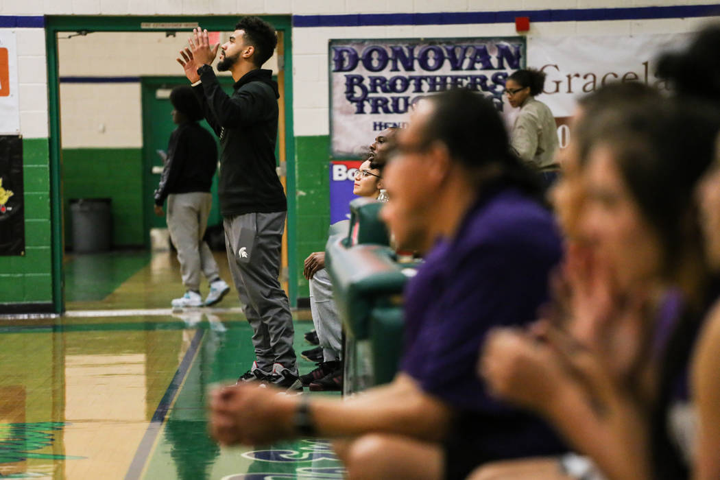 Cimarron-Memorial head coach Malcolm Griffin reacts during the fourth quarter of a basketball game against Spanish Springs during the Gator Winter Classic at Green Valley High School in Henderson, ...