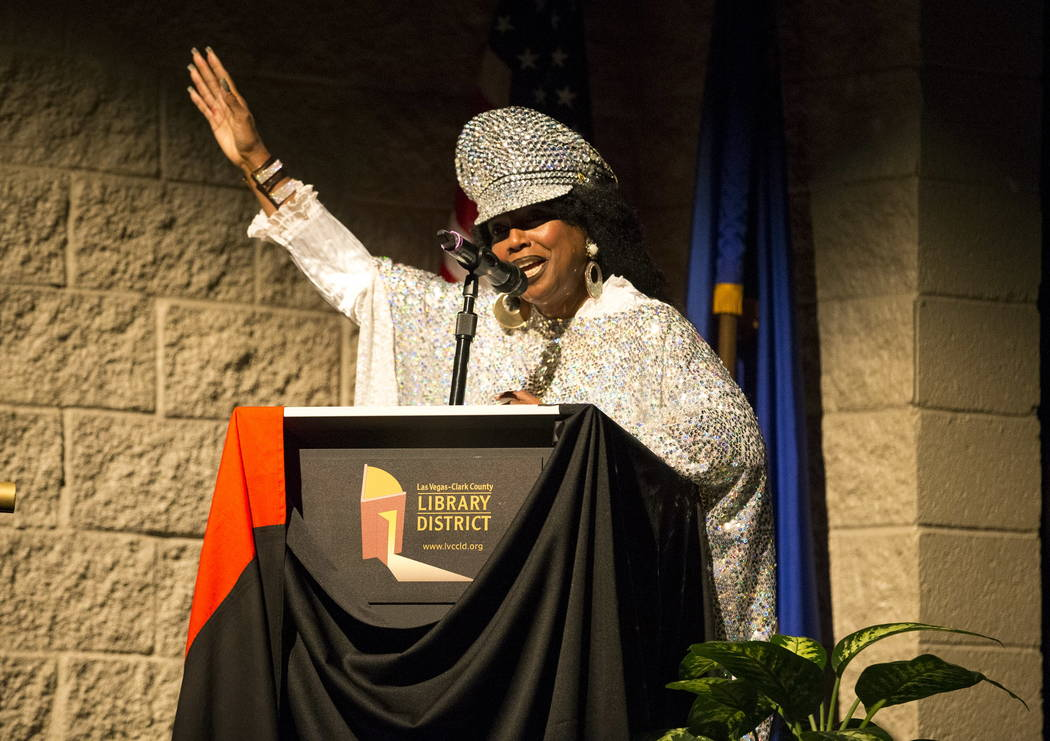 Queen Esther Sarr gives thanks and praise to the to those attending a Kwanzaa celebration at the West Las Vegas Library Theatre on Saturday, December 30, 2017. Richard Brian Las Vegas Review-Journ ...